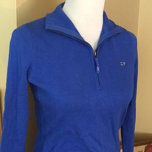 VINEYARD VINES sz XS Sweater 1/3 Zip MockNeck BLUE